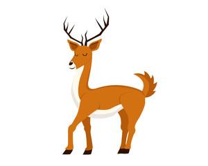 Flat Cute Animal Character Logo - Deer