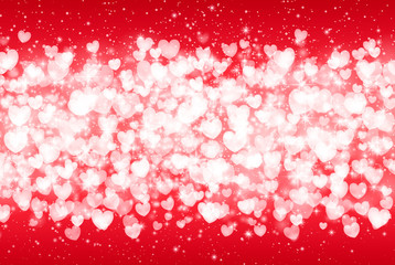 Vector Illustration of a Valentines Day Card. Falling hearts, sparkle star, snow on a pink background. Abstract white glitter confetti background. Romantic valentine backdrop.