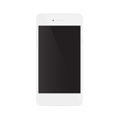Realistic white phone with black screen, isolated on white backg