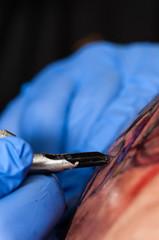 Tattoo artist making tattoo, focus on tattoo instrument