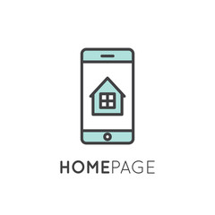 Vector icon style illustration logo thin line laptop and mobile phone app showing landing home page with house and window