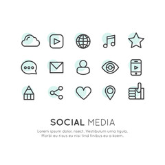 Vector Icon Style Illustration Set of Social Media and Network Symbols, Minimal Isolated Collection
