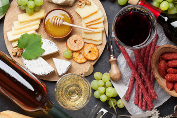 Wine, grape, cheese, sausages
