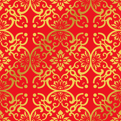 Seamless Golden Chinese Background Round Curve Cross Frame Flower