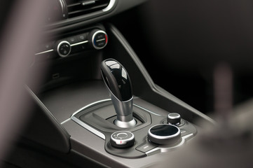 Gearbox shifter. Car interior.