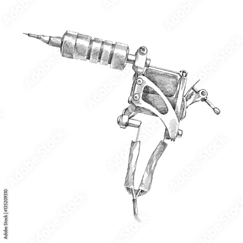 Tattoo Machine Line Drawing : Quot vector illustration of handmade induction tattoo machine