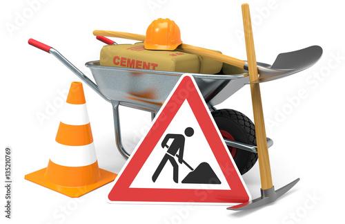 Baustellenschilder sicherheit  Baustelle, Absperrung mit Schaufel, Pickel, Baustellenschild ...