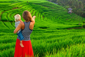 Beautiful view of Balinese traditional fields. Nature walk in green rice terrace. Happy mother hold happy little baby traveler.  Travel adventure with child, family summer vacation in Bali, Indonesia.