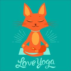 The Yoga Practice. Feel Like A Goddess. Cartoon Funny Cat Doing Yoga Position. Cartoon Meditation Vector With Text I Love Yoga. T-Shirt Print Design.