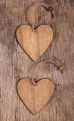 Two valentines on the old wooden background. Copy space. Valentine's day.