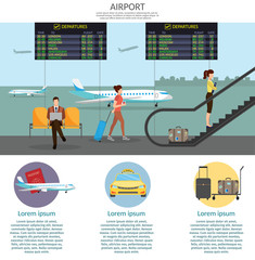 Airport passenger terminal and waiting room. International arrival and departures background vector illustration infographic set
