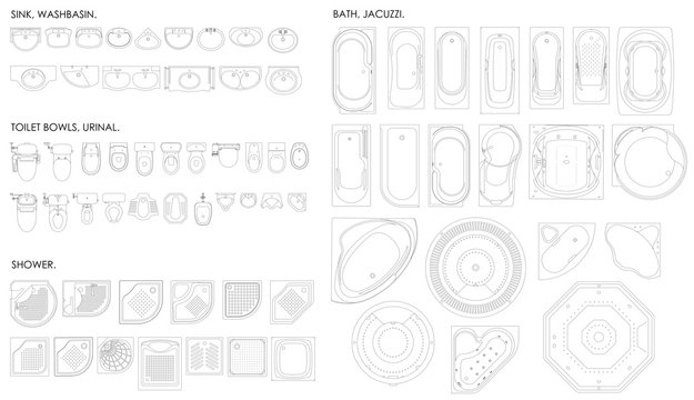 A set of equipment for the bathroom. Toilet bowl,urinal, sink, bath, jacuzzi, shower.Top view. Vector unshaded drawing.