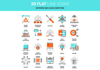 20 Line Art Networking and Storage Icons
