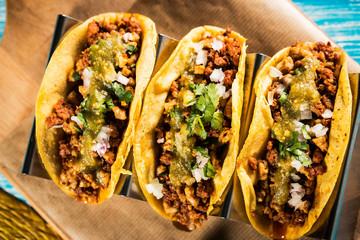Mexican tacos campechanos