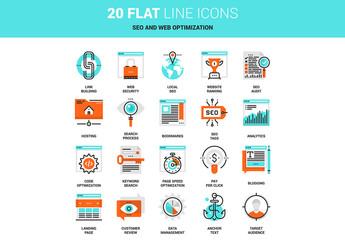 20 Line Art SEO and Web Icons