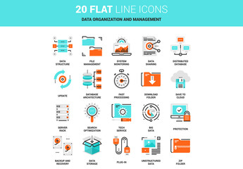 20 Line Art Data Icons