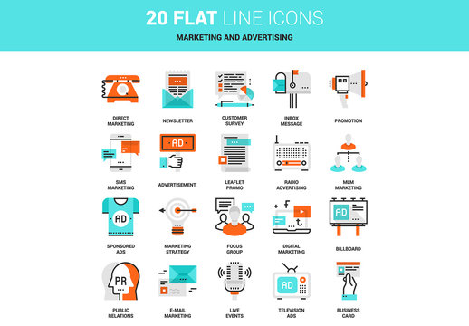 20 Line Art Marketing and Advertising Icons 1