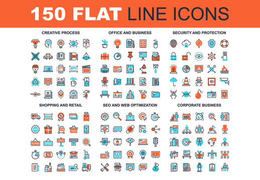150 Three-Color Line Art Icons 1