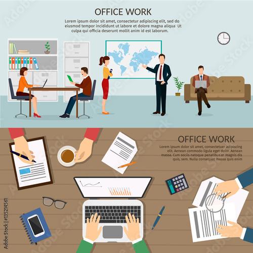 office worker background set vector illustration of banner horizontal fichier vectoriel libre. Black Bedroom Furniture Sets. Home Design Ideas