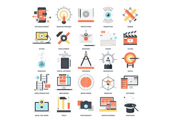 25 Flat Colorful Creative Process Icons