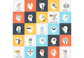 25 Flat Square Mental Process Icons 1