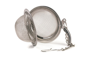 tea strainer on a chain isolated  white background