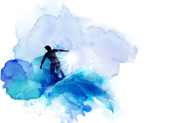 Abstract image of movement, speed and water. Black silhouette of surfer on the blue watercolor blots background.