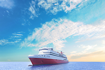cruise ship sails the sea under the blue sky
