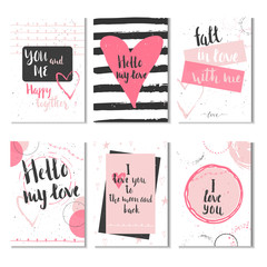 Set of 6 Valentines day gift cards with heart and lettering. Calligraphy, hand drawn design elements for print, poster, invitation.