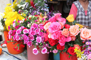 Colorful Flowers at Outdoor Market in Peru