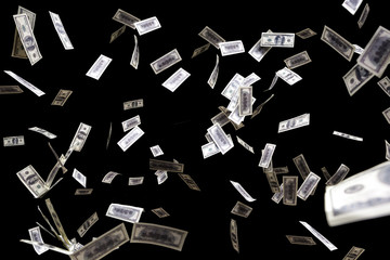 hundred dollars banknotes fly on black background. money rain concept