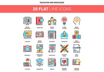 20 Five-Color Line Art Education Icons