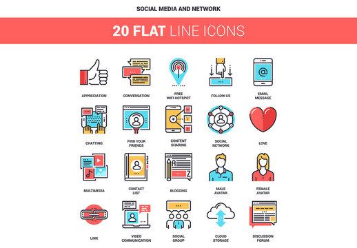 20 Five-Color Line Art Social Media Icons