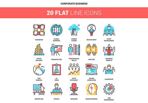 20 Five-Color Line Art Business Icons