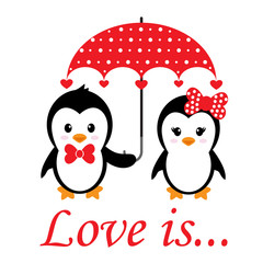 cartoon cute penguins set with heart and umbrella and text