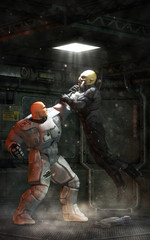 Futuristic human and alien fight