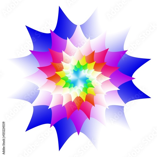 Abstract Mandala In Rainbow Colors Flower Isolated On White Background Colorful Bloom Multicolor