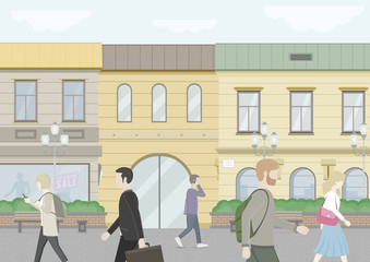 City Street. Fashion store, supermarket. Sale and Discount. People walking through town on a summer day. Vector Flat Illustration.