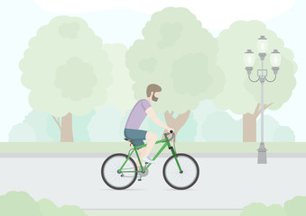 Man riding on a bicycle in Public Park. Flat Design. Vector Illustration.