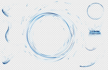 Transparent water splashes, drops, circle and crown from falling into the water in light blue colors. Vector 3d illustration. Purity freshness concept. Website abstract water background set.