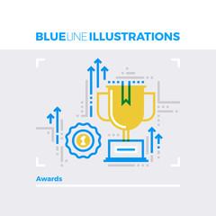 Awards Blue Line Illustration.