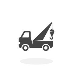 Evacuator car Icon. Vector logo on white background