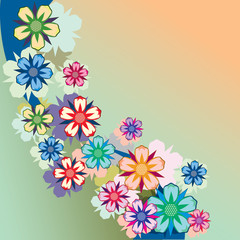 Background made up of flowers and plants. Herbs and flowers. Botany.