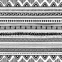Seamless ethnic pattern. Black and white geometric pattern. Prin