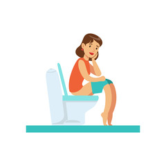 Woman Thinking Sitting On Toilet, Part Of People In The Bathroom Doing Their Routine Hygiene Procedures Series