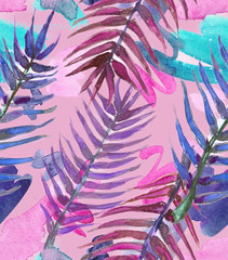 Seamless background pattern with pink, blue and purple palm leaves and paint blots and stains painted in watercolor on pale pink background