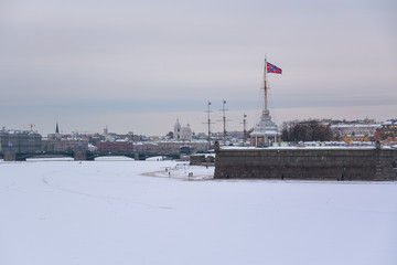 View of the city and the Peter and Paul Fortress from Neva. St. Petersburg