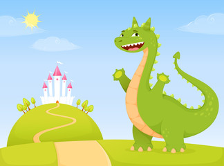 funny green dragon in fairy tale kingdom