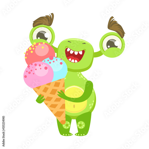Smiling Funny Monster Holding Ice Cream In Cone Green Alien Emoji