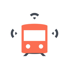 Smart train icon - orange driverless train with three wifi symbols - Pixel perfect icon